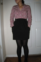 pink American Rag shirt - black Urban Outfitters skirt - black Forever 21 tights