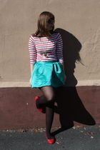 red Zara top - green Walmart skirt - brown tights - red Primark shoes - gold nec