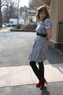 Blue-vintage-dress-black-tights-red-jeffrey-campbell-shoes
