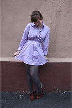 purple American Apparel dress - gray H&M tights - brown seychelles shoes