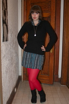second hand dress - Buffalo sweater - necklace - We Love Colors tights - Spring
