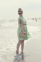 lime green vintage dress - light pink silk vintage scarf