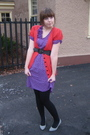 Purple-vintage-dress-red-kensie-sweater-black-ardene-tights-gray-aldo-shoe