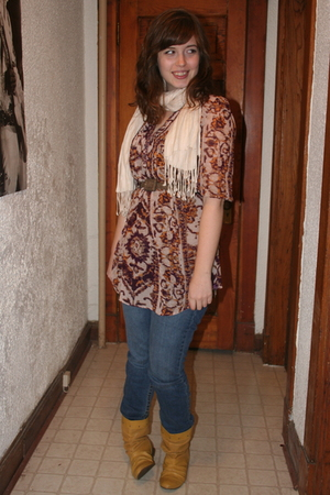 H&M top - Aeropostale jeans - Spring boots - Chinese Laundry belt