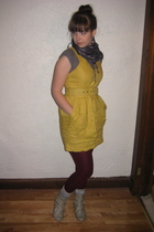 yellow Forever 21 dress - beige Primark boots - purple We Love Colors tights - b