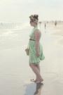 Lime-green-vintage-dress-light-pink-silk-vintage-scarf