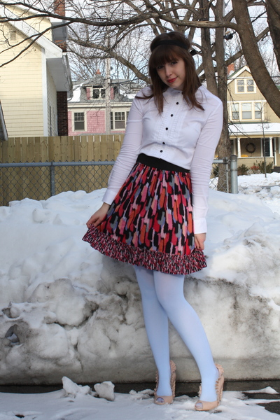 pink kensie skirt - white H&M shirt - pink Jeffrey Campbell shoes - blue We Love
