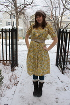 yellow vintage dress - beige thrifted belt - beige Aldo hat - brown Sears boots