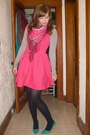 Pink-topshop-dress-blue-spring-shoes-pink-h-m-scarf-gray-shirt