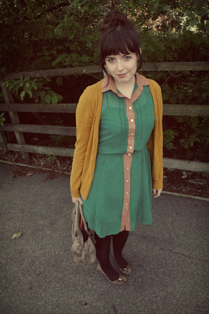 green button down Primark dress - dark brown Smart Set tights - gold H&amp;M cardiga