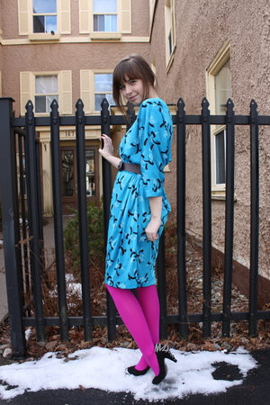 black Jeffrey Campbell shoes - blue vintage dress - pink We Love Colors tights