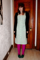 vintage dress - We Love Colors tights - Zara sweater - vintage shoes