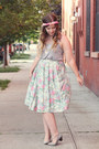 Lime-green-mint-thrifted-vintage-skirt-heather-gray-forever-21-top