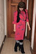 vintage dress - garage vest - Spring boots