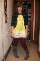 yellow modcloth dress - green thrifted sweater - purple We Love Colors tights -
