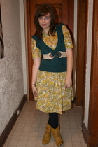 vintage dress - Costa Blanca sweater - boots