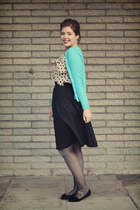 cream polka dot H&M blouse - silver sparkly unknown brand tights