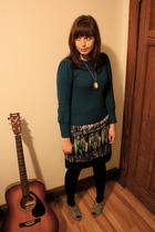 blue Primark sweater - black kensie skirt - gray Forever 21 shoes - black Ardene