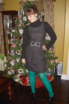 black dress - green We Love Colors tights - black H&M shoes - blue earrings