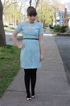 blue vintage dress - pink Jeffrey Campbell shoes - pink postlapsaria necklace -