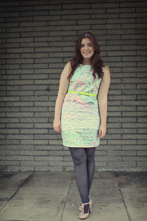 white patterned Dorothy Perkins dress - heather gray H&M tights