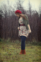 ruby red gift hat - tawny fringed Jeffrey Campbell boots