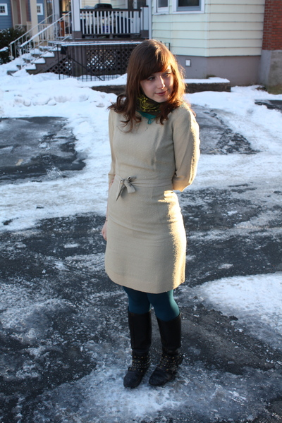white vintage dress - blue HUE tights - blue H&M scarf - black Spring boots