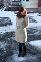 white vintage dress - blue HUE tights - blue H&M scarf - black Spring boots