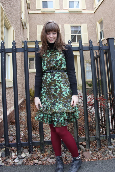 green Vero Moda dress - red We Love Colors tights - black Forever 21 boots