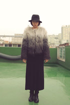 gray gradation coat H&M coat - black fedora H&M hat