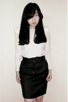 white Zara blouse - gray high waisted Stella McCartney skirt