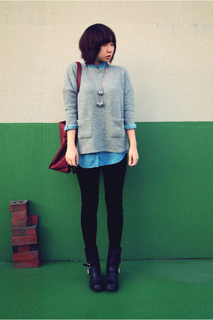 blue denim shirts H&M shirt - black Zara leggings