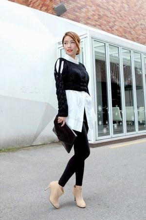 black knitted Stylenanda top - neutral ankle boots - black Forever 21 leggings