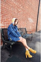 blue Stylenanda coat - mustard boots - off white hat - ivory socks
