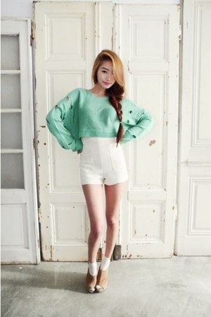 white Pinkage shorts - aquamarine Nanda top - camel Sinchon heels