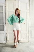 white Pinkage shorts - aquamarine Nanda top - camel Sinchon heels
