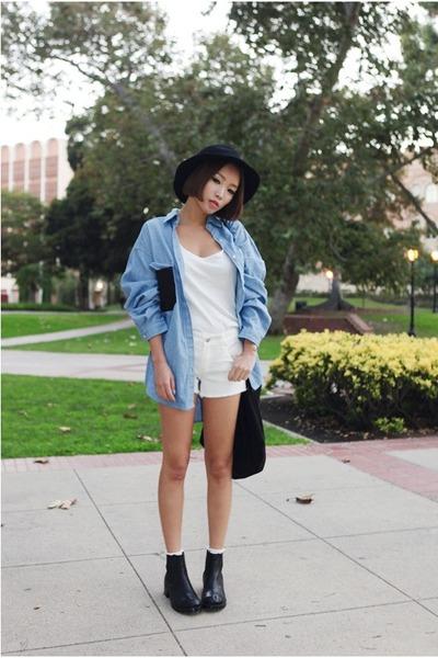 sky blue Stylenanda shirt - ivory Stylenanda shorts