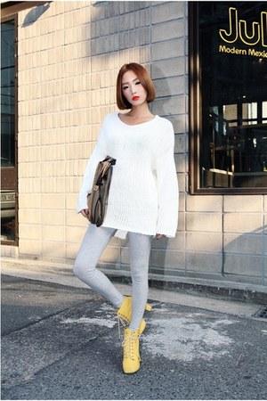 light yellow boots - white sweater - silver leggings - light brown bag