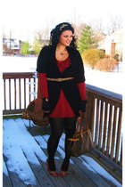 Forever 21 dress - Forever 21 sweater - Forever21 gloves - thrifted belt - Forev