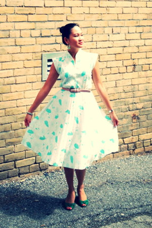 aquamarine vintage dress - green Aldo wedges