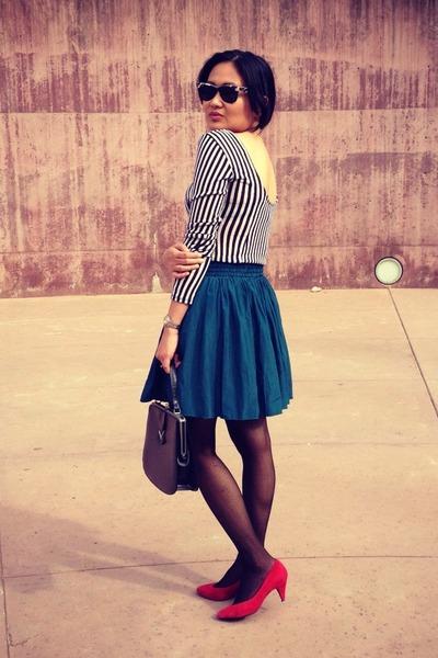red suede Jessica Simpson pumps - black striped Sparkle & Fade dress