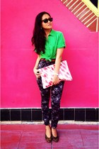 green button-up Love Culture shirt - ruby red American Apparel purse