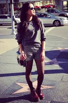 gray drop shoulder American Apparel sweater - ruby red doc martens boots