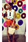 Aquamarine-button-up-h-m-shirt-carrot-orange-urban-outfiters-shorts