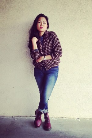 American Apparel jacket - brick red doc martens boots - navy skinny Levis jeans