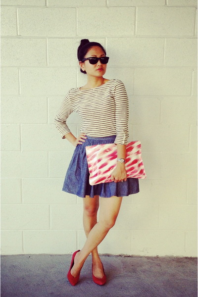 red patent leather American Apparel bag - navy chambray American Apparel skirt