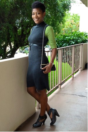 charcoal gray vintage dress - black Aldo shoes - chartreuse shirt