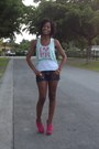 White-forever-21-shirt-navy-guess-shorts-hot-pink-bakers-pumps