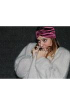 thrifted vintage cardigan - BABOOSHKA hat - MAC Lipstick accessories