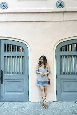 light blue Forever 21 dress - brown lace up sandals sandals